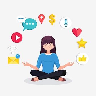 Vrouw doet yoga met sociale netwerkpictogrammen. vrouw zitten in padmasana lotus houding