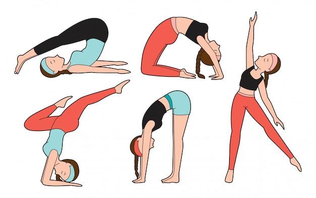 Vrouw doet yoga oefening in verschillende poses