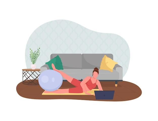 Vrouw doet yoga tijdens het werken illustratie