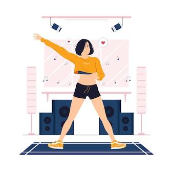 Vrouw doet zumba dans, oefening, training en fitness concept illustratie
