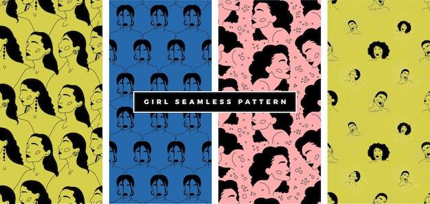 Vrouw doodle gezichten naadloze patroon moderne abstracte gezichten.