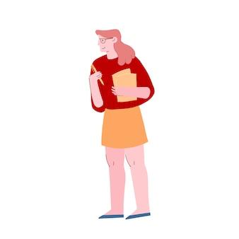 Vrouw draagt documentbestanden en potlood in handen