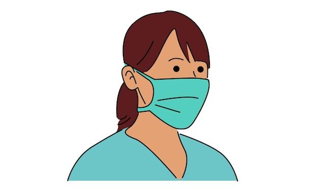 Vrouw draagt ?? een stofmasker voor bescherming in de hand getekend
