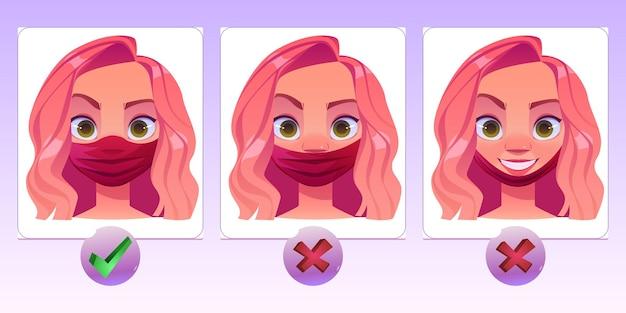 Vrouw draagt gezichtsmasker op een verkeerde en correcte manier.