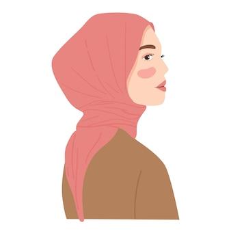 Vrouw draagt hijab van zijaanzicht stripfiguur