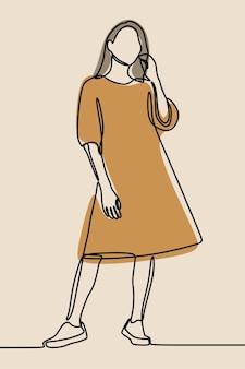 Vrouw draagt jurk oneline ononderbroken lijntekeningen