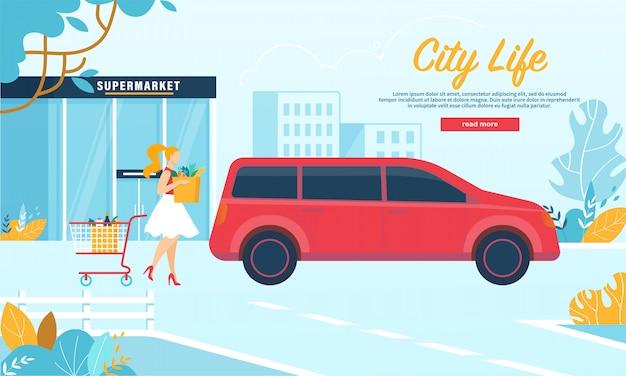 Vrouw draagtas met producten aan auto, supermarktillustratie