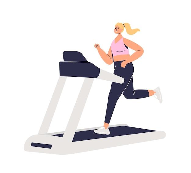 Vrouw draait op loopband. vrouwelijke stripfiguur opleiding joggen. sport, fitness en training concept. sportief meisje uitoefenen