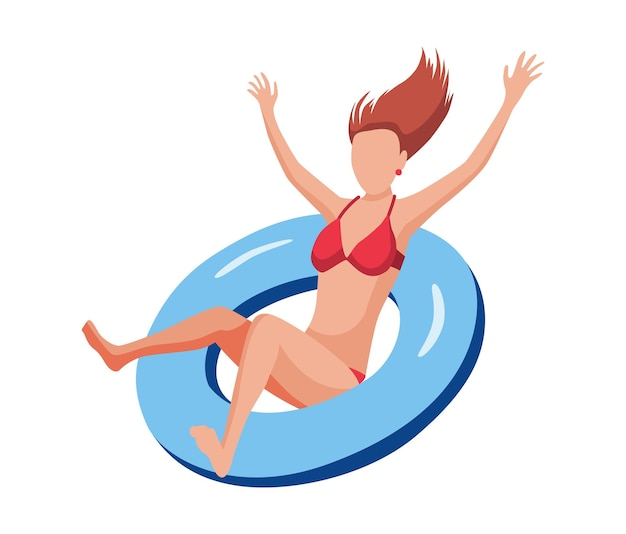 Vrouw drijven op luchtbed. leuk vrouwelijk personage. jonge dame die op opblaasbare ring zwemt. zomer platte cartoon afbeelding.