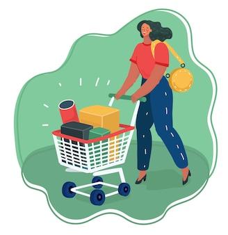 Vrouw duwt winkelwagentje vol dozen