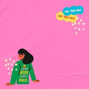 Vrouw empowerment grenskader bewerkbare vector roze pop-art stijl