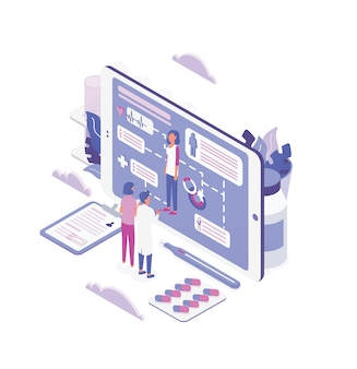 Vrouw en arts die zich voor het grote scherm van tabletpc bevinden en door de gezondheidsindicatoren van de patiënt kijken. online medische hulp, internetgezondheidsdienst. kleurrijke isometrische illustratie.