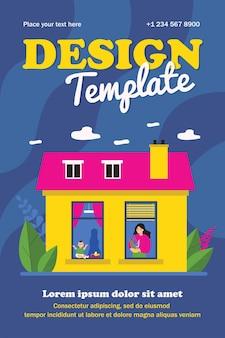 Vrouw en baby in ramen van buurappartementen. plant, speelgoed, huis vlakke poster