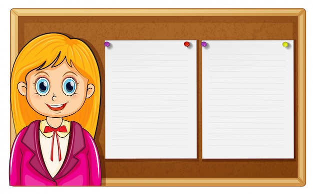 Vrouw en bord met papieren