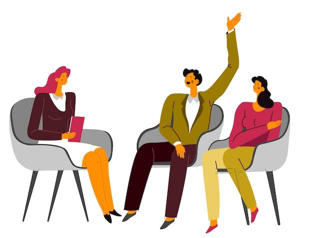 Vrouw en echtgenoot of vriend en vriendin op sessie bij familiepsychoanalyticus en psycholoog. man en vrouw praten met specialist, stellen vragen en beantwoorden, koppel analyse vector in flat