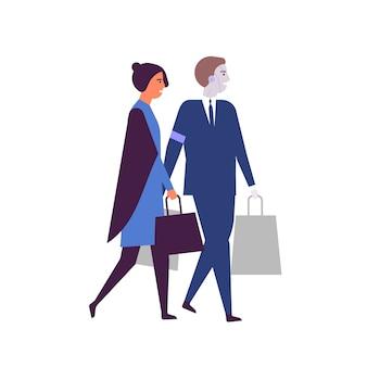 Vrouw en gerobotiseerde assistent met boodschappentassen vlakke afbeelding.