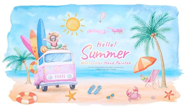 Vrouw en hond gelukkig genieten van vakantie op het dak auto surfplank in de vakantie zomer tropisch toerisme reis met zee strand en zwemmen ring, vliegtuig. aquarel handgeschilderd.