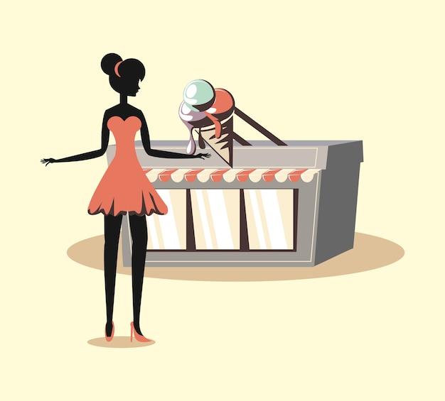 Vrouw en ijs winkel retro stijl van de gevel