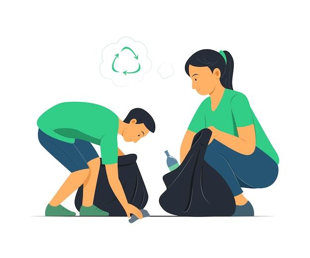 Vrouw en jongen halen het afval op om te recyclen