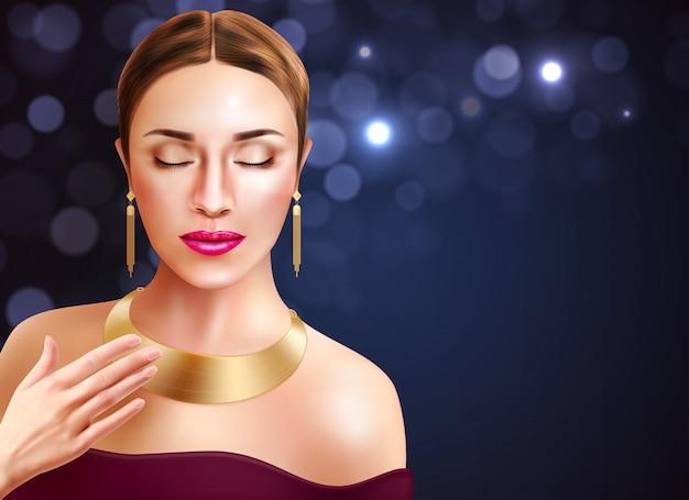 Vrouw en juwelentoebehoren met gouden oorringen en halsband realistische illustratie