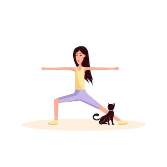 Vrouw en kat doen gymnastiek kleur vector platte cartoon pictogram sport levensstijl