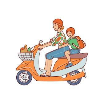 Vrouw en kind stripfiguren rijden bromfiets of motorfiets illustratie