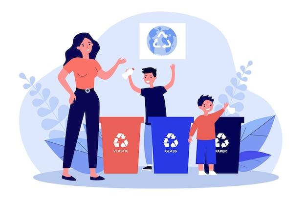 Vrouw en kinderen sorteren afval samen. plastic, glas, papieren illustratie. milieu- en ecologiebeschermingsconcept voor banner, website of bestemmingswebpagina