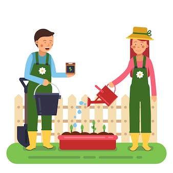 Vrouw en man aan het werk in de tuin. verschillende gereedschappen voor landbouw en tuinieren.