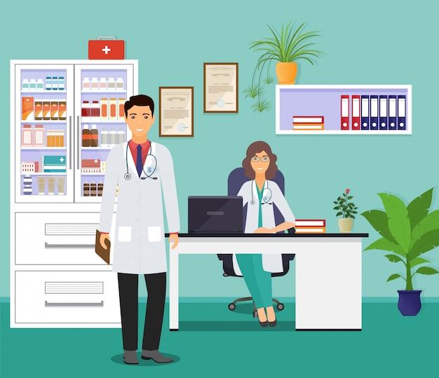 Vrouw en man artsen in uniform in spreekkamer.