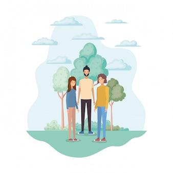 Vrouw en man avatars in het park