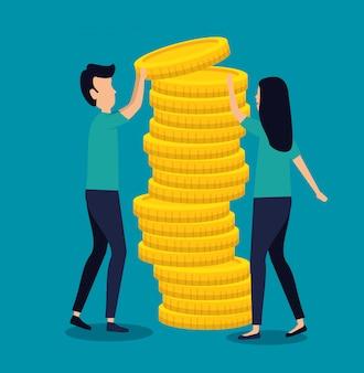 Vrouw en man bedrijfsgroepswerk met muntstukken