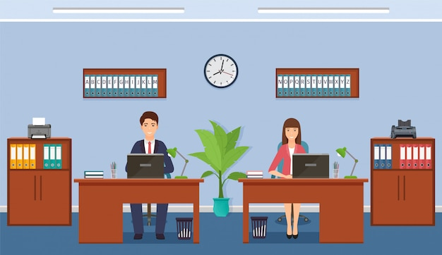 Vrouw en man bedrijfswerknemer op werkende plaatsen in bureau. werksituatie met vrouwelijk en mannelijk personeel.