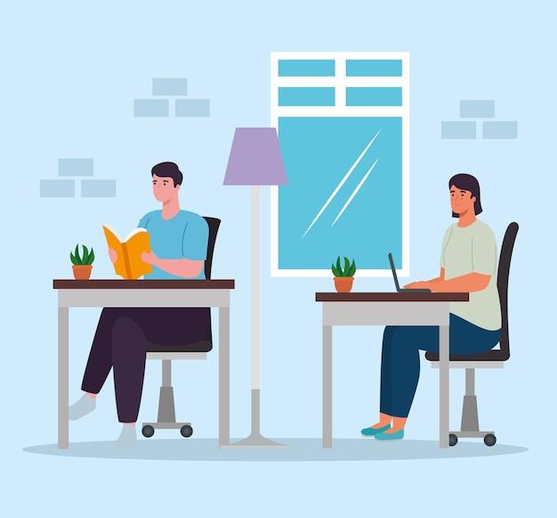 Vrouw en man bij bureaus thuis ontwerp van activiteit en vrije tijd