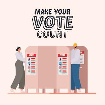 Vrouw en man bij stemhokje met tekstontwerp, verkiezingsdagthema, stem tellen.