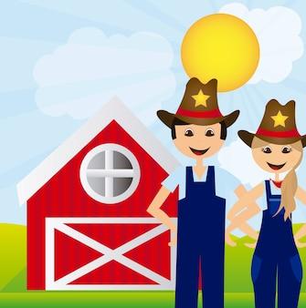 Vrouw en man boeren over landschap boerderij achtergrond vector