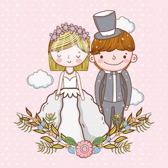 Vrouw en man bruiloft met wolken en planten bladeren