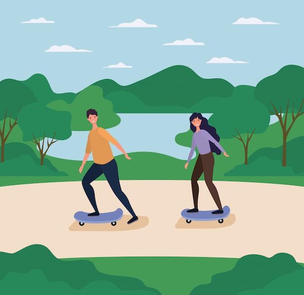 Vrouw en man cartoons op skateboards in het park