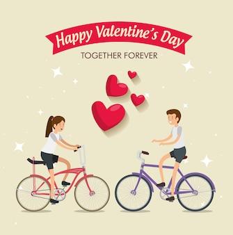 Vrouw en man die een fiets in de dag van de valentijnskaart berijden
