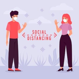 Vrouw en man die het sociale distantiëren uitoefenen