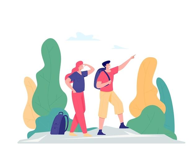 Vrouw en man die plezier hebben in succes poseren of een doel bereiken met opgeheven armen op de bergtop. reis-, avontuur- of expeditieconcept. vlakke stijl illustratie.