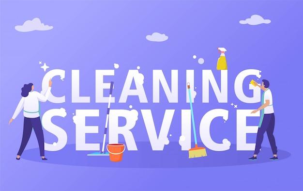 Vrouw en man die spons en wisser gebruiken om huis schoon te maken, de schoonmakende dienst met het vlakke ontwerp van de karakterillustratie