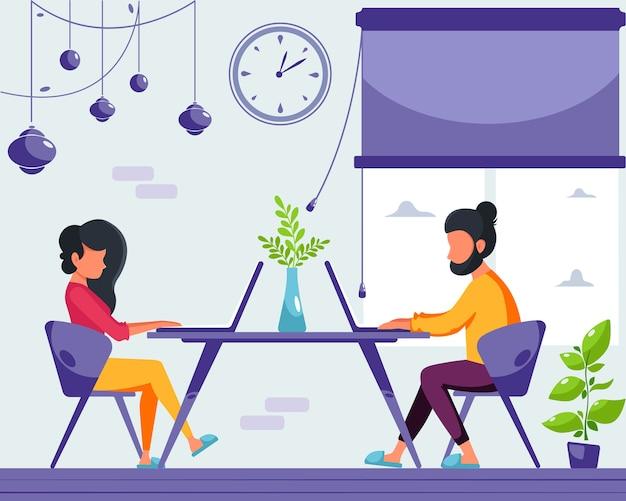 Vrouw en man freelancers werken aan een laptop thuis. blijf thuis concept. afstandswerk. thuiskantoor. illustratie in een vlakke stijl.