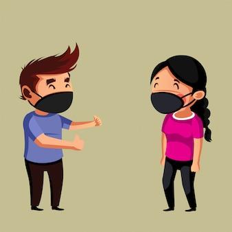 Vrouw en man hebben een gesprek en hebben een sociale afstand