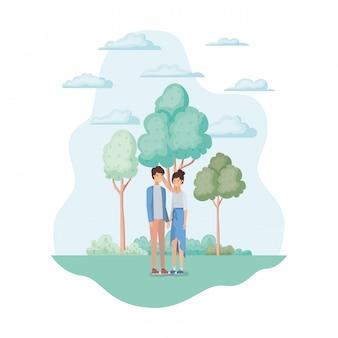 Vrouw en man in het park