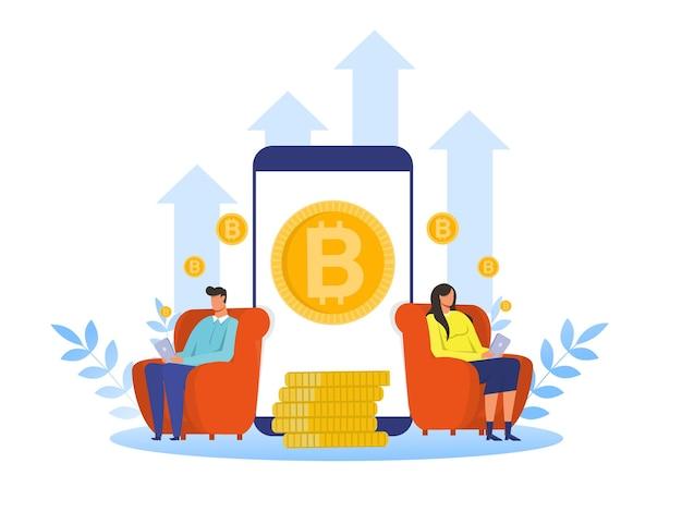 Vrouw en man kopen bitcoin om meer investeringen in cryptocurrency te krijgen