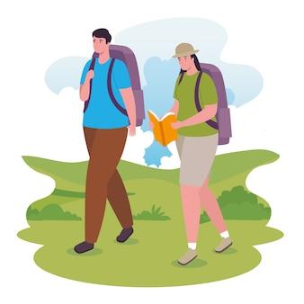 Vrouw en man lopen met tas en boekontwerp, outdoor-activiteit en seizoen