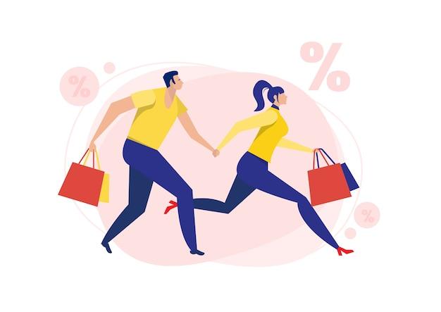 Vrouw en man lopen te koop korting zwarte vrijdag op witte achtergrond.