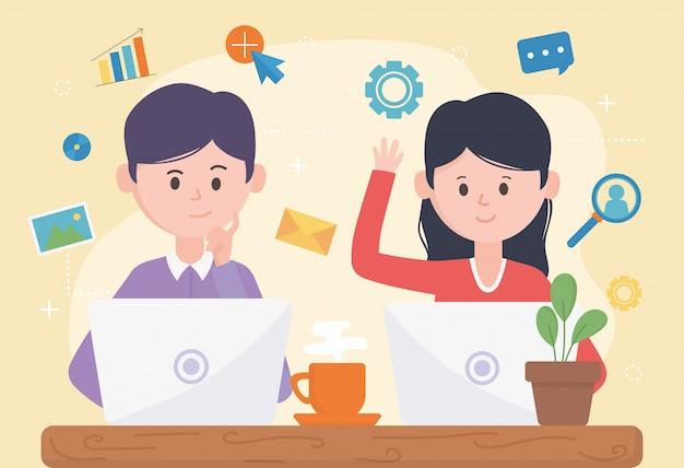 Vrouw en man met laptop netwerk sociale media
