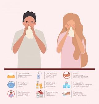 Vrouw en man met verkoudheid van 2019 ncov-viruspreventie typeert ontwerp van covid 19 cov-epidemische ziektesymptomen en medische thema-illustratie