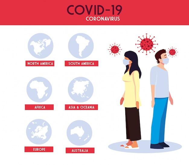 Vrouw en man met wereldkaarten met covid 19 virus vectorontwerp